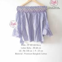 Jual Atasan Wanita/Baju Sabrina Import Bangkok/Sabrina Garis Salur Navy Murah