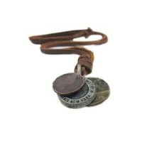 Kalung Sanwood 3 coin Pendant Leather Necklace Adjustable