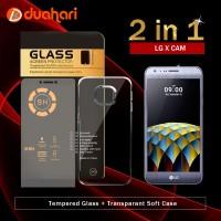 2in1 Tempered Glass LG X CAM + Soft Case Casing LG X CAM