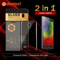 2in1 Tempered Glass LENOVO A2010 + Soft Case Casing LENOVO A2010