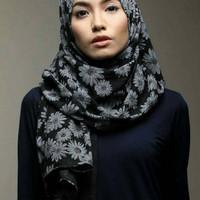 Jilbab Serut HIJAB KERUDUNG JILBAB PASMINA PASHMINA DAISY MOTIF BUNGA