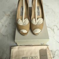 Jimmy Choo Luna Patent Leather Nude Sz 37