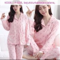baju tidur kemeja cewek wanita piyama pajamas satin pink cute 538