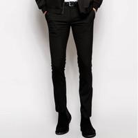 Jual Celana bahan pria Asos model skinny hitam Murah