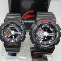 JAM TANGAN COUPLE G SHOCK GA 110 SEPASANG BLACK RED