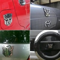 emblem mobil transformer autobots chrome