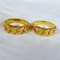 Cincin Rotan Rantai Lapis Emas Kuning 24k