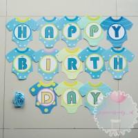 Banner Bunting Flag HBD Birthday Baby Bayi Cowo Baju Biru