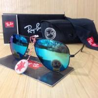Jual Kacamata Sunglass Murah Rayban Aviator Biru Lis Hitam Super Premium SP Murah