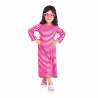 Dress Anak Perempuan Motif Salur Belang Bergaris Warna Pink Putih