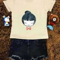 Ch-LING LING/kaos lucu gambar cewe jepang/crop top/baju polos cute