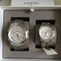 Jam Fossil Original. Fossil Couple Watch Set Silver Finish NWT
