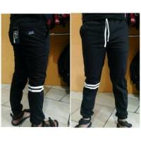 Jual jogger pants hitam garis putih (white stripes) Murah