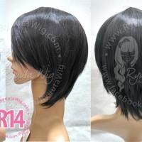 R14 | Wig short / pendek, bisa untuk cewek / cowok laki hitam coklat