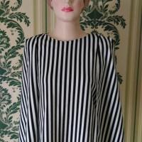 Jual Baju blouse cape motif salur vertical putih navy Murah