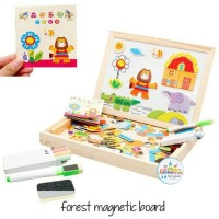 Mainan anak kayu - Puzzle magnet - magnetic board - animals