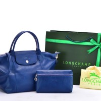 Tas Longchamp Le Pliage Cuir Small Set BIRU DONGKER Semprem P504992-10