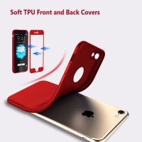 Soft TPU Front and back cover case Iphone 7/7s + FREE TEMPERED GLASS