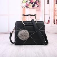 Tas Wanita Import C91811 Black Kucing Cat Cute Pom Pom Charm Bag H&M