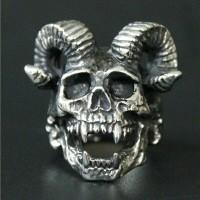 skull ring / cincin tengkorak baphomet tanduk