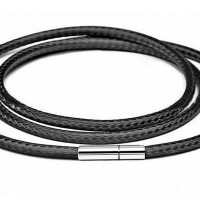 Genuine Leather Necklace Titanium Steel Kalung Pria Kalung Kulit Asli