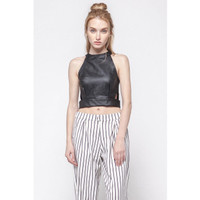 [PRELOVED] Ash Leather Crop Top