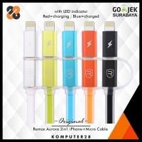 Jual Remax Aurora Cable iPhone + Micro USB 2in1 - Kabel Data + Charging Murah