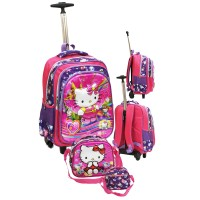 Tas Anak SD Trolley Gagang Stainless Hello Kitty 5DTimbul + Lunch Bag