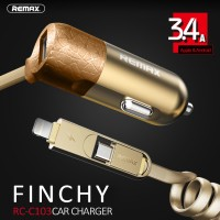 Jual Remax Finchy Car Charger RC-C103 2 in 1 Cable Micro USB dan Lightning Murah
