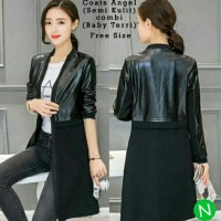 Jual black long coat blazer muslim semi kulit Murah