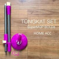 Tongkat set handle + kepala mop SUPERMOP bolde warna pink hijau ungu o