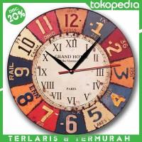 Jam Dinding Motif Vintage Plat Number - Handicraft Wall Clock - Kool K