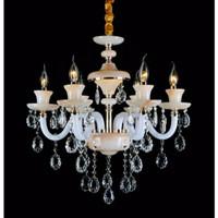 lampu hias gantung lilin crystal kristal bahan kaca susu + keramik