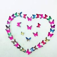 kupu kupu 3D isi 40 pcs dengan ukuran yang bervariasi