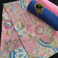 Kain Batik Print Pekalongan Motif Pastel Warna Pink Tanpa Embos