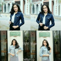 Jual jaket crop light & navy blue | jacket jeans wanita Murah