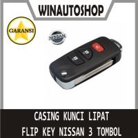 Casing kunci Flip key 3 Tombol Nissan Grand Livina Xtrail BONUS LOGO