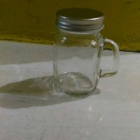 Jual mug jar mini 110ml tutup besi silver gold, toples,mason jar,harvest Murah