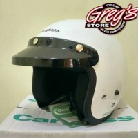 Helm Retro Cargloss CF Putih Glossi Vespa Bogo Chips Japstyle Classic