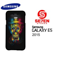 Casing HP Samsung E5 2015 Colorful Overlap Skull In Hat Custom Hardcas