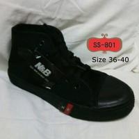 sepatu anak sekolah boot full hitam NB ori import size 36-43