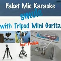 Jual paket karaoke smule,mini microphone and mini tripod free holder Murah