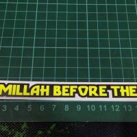 Cutting Sticker Visor Atas Bismillah before the race Kuning fluo