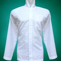 Jual Baju Koko Pria, Lengan Panjang Putih Full Bordir Motif Tilde Murah