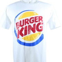 jual kaos burger king warna putih size ready M L dan XL KS-600