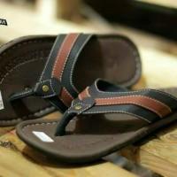 Jual Sandal Pria Levis Glosy Combinasi Hitam-Brown Sandal Jepit Pria Murah Murah