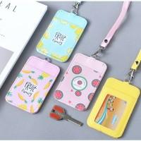 pastel color card case/name tag/id card holder/tempat kartu gantung