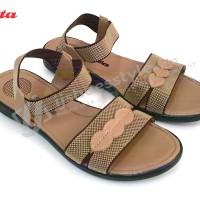 Bata 4455 - Sepatu Sandal Flat Selop Elastis Wanita Warna Coklat Muda