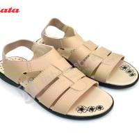 Sepatu Sandal BATA  8550 Flat Wanita Gladiator Elastis warna Krem