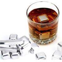 Jual Reusable Stainless Steel Ice Cube / Es Batu Stainless - Silver - 6 P Murah